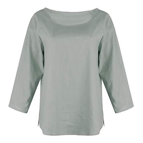 Beliebtes europäisches und amerikanisches Frauen-T-Shirt aus Baumwolle und Leinen Gr. M, grau