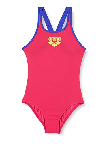 ARENA Mädchen Sport Badeanzug Biglogo, Freak Rose-Neon Blue, 140