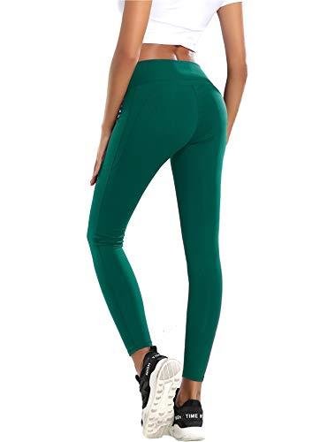 QueenDer Leggings Fitness Donna Yoga Sportivi Palestra Vita Alta Opaco Allenamento Leggins Lungo Pantaloni con Tasche per Running Cycling Ginnastica (Verde, L)