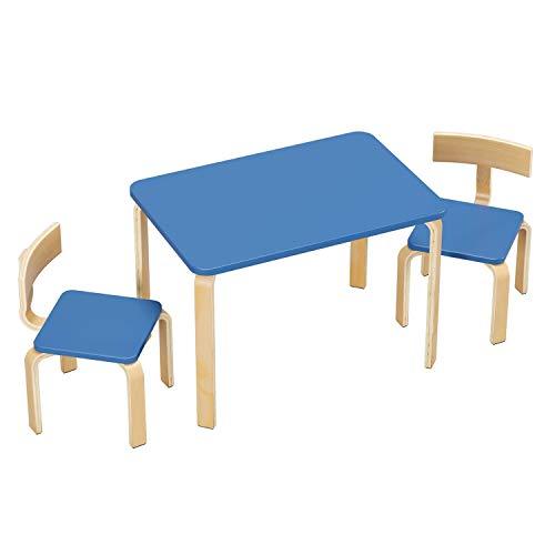 Homfa Juego de Mesa y 2 Sillas Infantiles Mueble Infantil Mesa y Sillas para Niños para Dormitoro Habitación Infantil Azul
