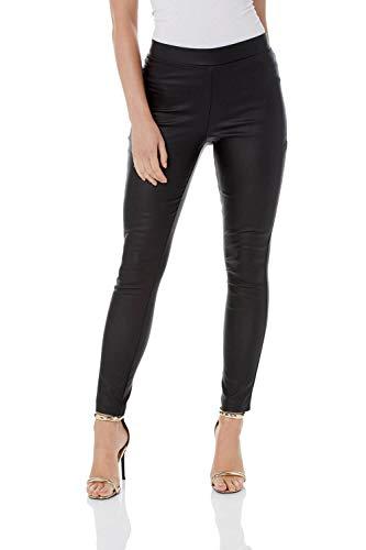 Roman Originals - Pantalón de piel sintética para mujer, estilo skinny Biker Negro  40