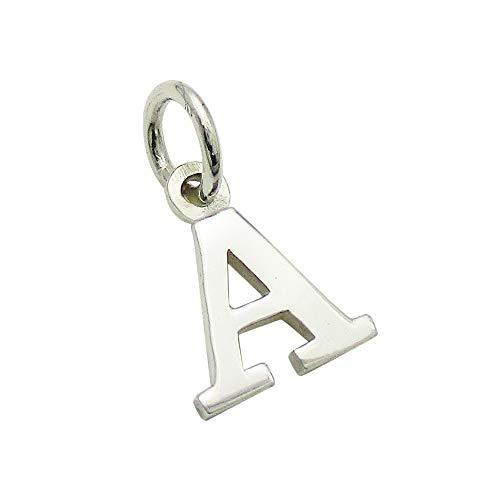 小さなアルファベットのチャーム (1) 「A」 ステンレスチェーンセット ゴシック体 ネックレス シルバー925 60cm