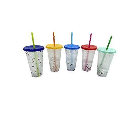 Farbwechselnde Kaltgetränkebecher, wiederverwendbarer Kunststoffbecher mit Deckel und Strohhalm, Farbwechsel, Sommer-Kaffeebecher