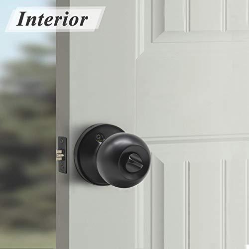 Probrico Keyed Alike Entry Door Knobs Black, Keyed Entry Locksets, Round Interior Door Knobs with Lock and Keys,3 Pack