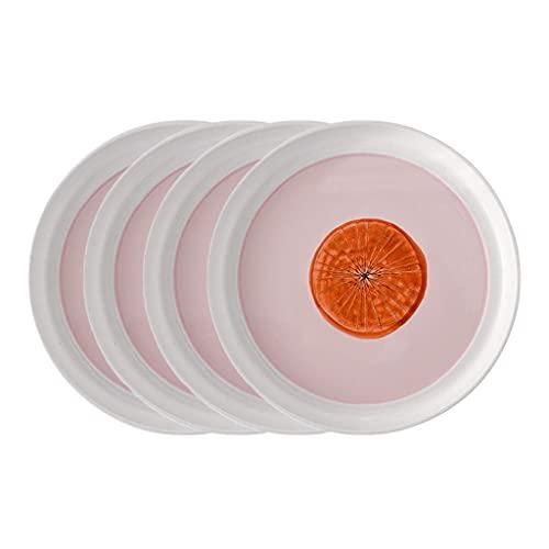 Juego de bandejas de Platos, Platos Redondos, Cocina, Pasta, Filete, Frutas, Platos, cerámica, Minimalista, Apto para lavavajillas, Comedor (Color: Rosa × 4, tamaño: 7.5in)