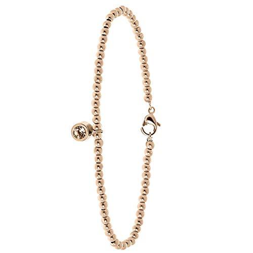 Endless - Armband aus Edelstahl, rosé, Kugelkette/rund, pfirsichfarbener Kristall - für Damen - Rosa