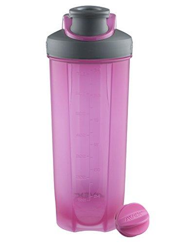 AVEX Mixfit Shaker Bottle with Carabiner Clip, 28oz, Pink