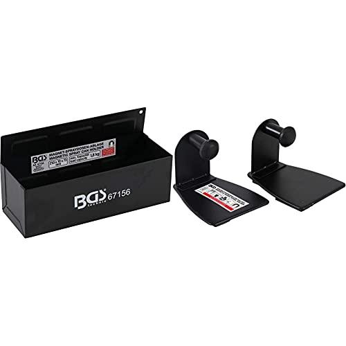 BGS 67156 | Magnet-Spraydosen-Ablage | 210 x 75 x 70 mm | 6 starke Magnete, Haltekraft ca. 1,8 kg + 67159 | Magnet-Papierrollen-Halter | 2-tlg. | schwarz | Küchenrollenhalter