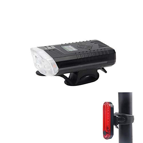 Juego de luces para bicicleta, recargable por USB, luces delanteras y trasera LED, color negro