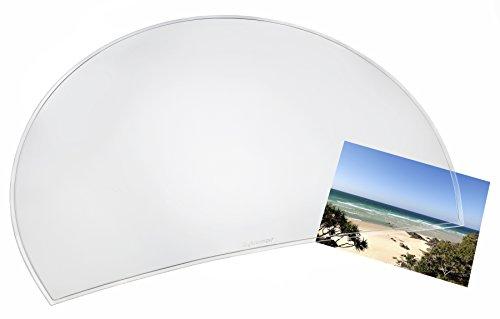 Läufer 32610 Matton Rondo Transparent Schreibtischunterlage, durchsichtige Schreibunterlage, halbrund, glasklar 50x70 cm