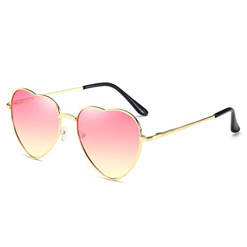 Dollger Herz Sonnenbrille für Frauen Randlose Metallrahmen Dünne herzförmige Sonnenbrille UV400(Farbverlauf rosa Linsen + Goldrahmen)