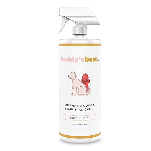 Buddy's Best, Pet Urine Odor Eliminator, Deodorizer, and Stain Remover - Enzymatic Cleaner for Dog Urine - Effective Enzyme Based Dog Pee Spray Cleaner - Bamboo Mint Scent, 32 fl oz