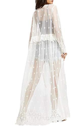 L-Peach dames V-hals lange kanten jurk maxi strandjurk pareo cover ups