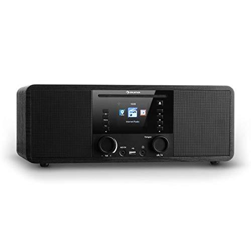 auna IR-190 - Radio de Internet, Reproductor de CD, Bluetooth, WiFi, Radio FM, Puerto USB, Entrada AUX, Despertador, Temporizador, Pantalla...