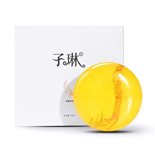 Savon Revitalisant au Ginseng Barre,KISSION Anti-huile Nettoyage en profondeur Traitement de l'acné pour le visage Soins du corps Savon pour la peau