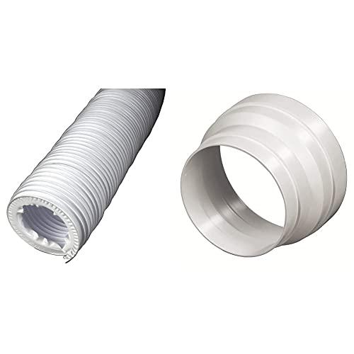 Xavax Abluftschlauch für Wäschetrockner, Innendurchmesser 10,2 cm, Länge 2 m & Reduzierstück für Dunstabzugshaube, Verkleinerung 125 auf 100 mm