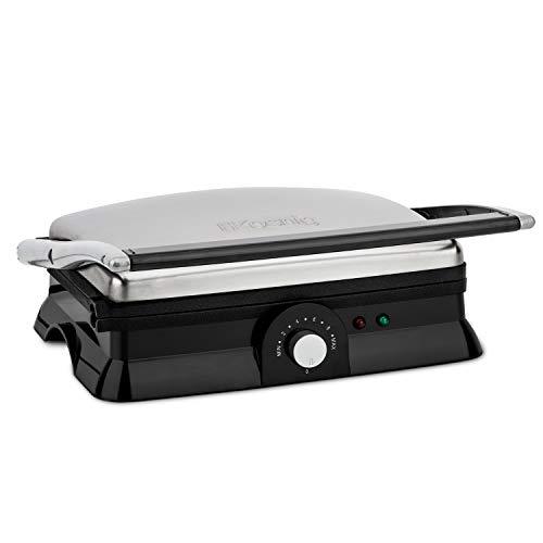 H.Koenig GR20 Grill Plancha Electrique de Table Inox Professionnel, Grande surface de cuisson, Hauteur et Température réglables, Multifonction Grill de contact Barbecue Panini Viande Sandwich Pizza