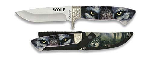 Cuchillo con grabado y funda de Lobo WOLF en 3D Hoja 12,1 para Caza, Pesca, Camping, Outdoor, Supervivencia y Bushcraft Albainox 32234 + Portabotellas de regalo