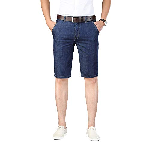 Men's Shorts Fashion Large Size Solid Color Straight Slim Loose Summer Ultra-Thin Five-Point Jeans 42 Blue