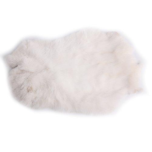 URSFUR Erstklassige Felle aus Kaninchen Echte Tierfell Kaninchenfell Kanin Hasenfell 18.5 * 11Inches -weiß