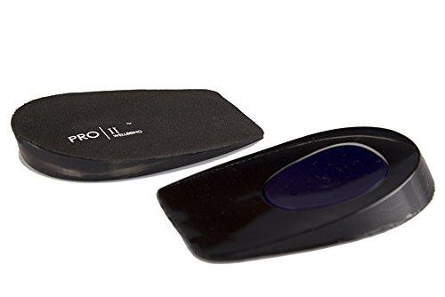 Pro11Wellbeing, Gelkissen/Einlegesohle zum Schutz der Fersen, mit dynamischem und stoßdämpfendem Micro-Pro-Gel, hilft bei Fersenschmerzen und Fersensporn, Schwarz - Schwarz  - Größe: S