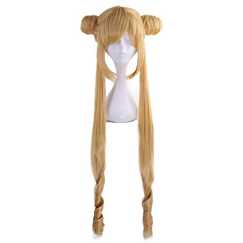 Yitsulay Sailor Moon Cosplay Wig Long Straight Ponytails with Buns Synthetic Hair for Halloween Costume Party (Brown)