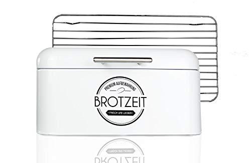 LOFTASTIC® Brotkasten Set inkl. Lüftungsgitter aus Edelstahl I Hochwertige Metall Brotbox in verschiedenen Größen I Die stilvollste Aufbewahrung für noch länger frisches Brot (Normal 31x19x15cm)