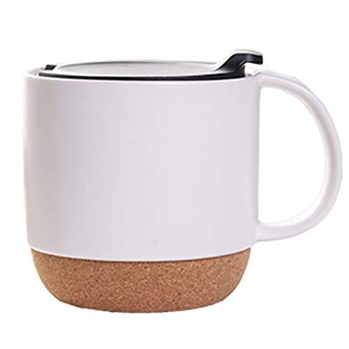 Yiyu Kaffeetasse, 400 Ml, Keramiktasse, Isolierter Kork Und Spritzbecherdeckel, Milchbecher, Mattschwarz x (Color : White)