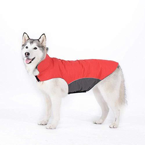 LLYU Hond winter kleding voor middelgrote honden, grote honden, vest ski kleding waterdichte winddichte warme jas, 4XL, Rood