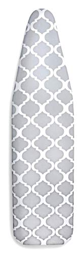 """EPICA Silicone Coated Ironing Board Cover- Resists Scorching and Staining - 15"""" x54 (Board not Included) (Lattice: Grey and White)"""