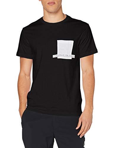 Calvin Klein Instit Contrast Pocket Tee Camicia, CK Black, S Uomo