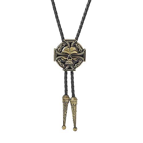 Wuyuana Bolo tie BOLO BOW Tie PUNK Cross Collar de aleación de zinc con colgante de metal retro (color: dorado)