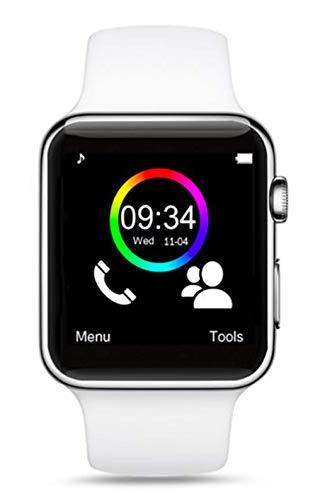Jackson - Reloj Inteligente Inteligente para Android Apple iOS y Windows Bluetooth 4.2 con Ranura para Tarjeta SIM, Tarjeta SD, SMS y Llamadas, podómetro, música