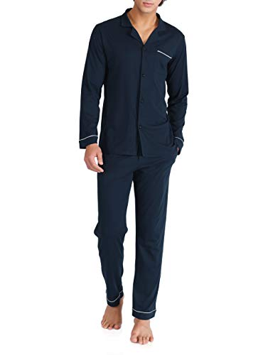 DAVID ARCHY Men's 100% Cotton Long Button-Down Sleepwear Pajama Set (M, Navy Blue)