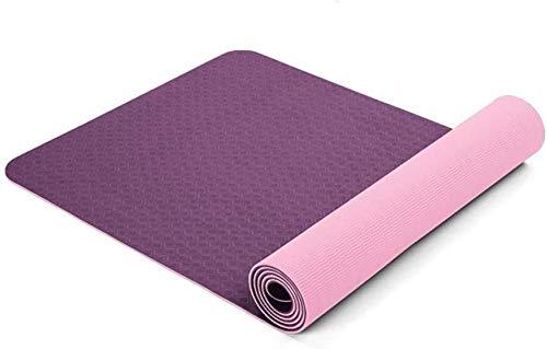 GDFEH Esterilla de yoga de viaje de 6 mm de grosor, extra ancha, larga para pilates y pilates, antideslizante, práctica esterilla de yoga de 183 cm x 80 cm, alfombrilla de viaje de TPE (color morado)
