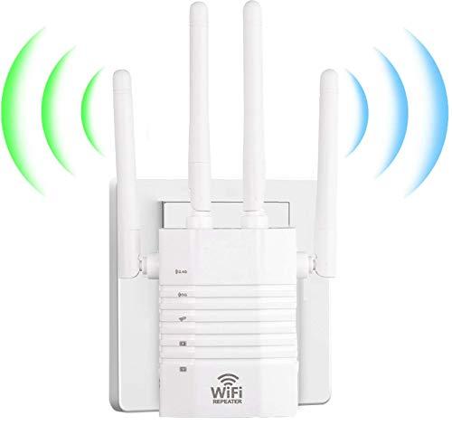 1200Mbps Repetidor WiFi Amplificador Señal WiFi Banda Dual 2.4GHz y 5GHz Extensor de Red WiFi con Largo Alcance Modo Punto de Acceso Repeater Router Cliente (3 Modos, 4 Antenas, Puerto LAN WAN)