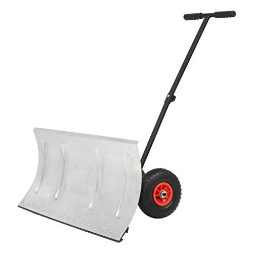 Great Price! HELLOLAND Manual Snow Shovel Snowplough with Wheels Angle-Adjustable Push Bar and Ploug...