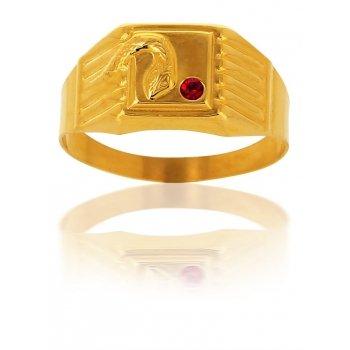 Avenuedubijou - Anello chevalier in oro giallo con zircone rubino e serpente 18 carati e In oro giallo 750/1000, 12, cod. aj6298-58