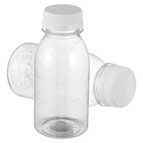 Cabilock - 10 bottiglie di succo in plastica trasparente con tappi riutilizzabili, vuoti, per latte, succhi di frutta, bevande, bevande, 250 ml