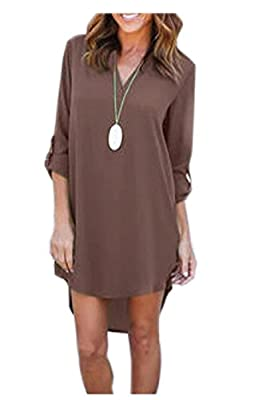 YXTech Women Long Sleeve Casual Mini Shirt Dress Loose Chiffon Ladies Short Shirt Dress