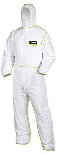 Uvex 5/6 Classic Chemikalien-Schutzanzug - Weiß-Grüner Einweg-Overall - Partikeldicht XXXL
