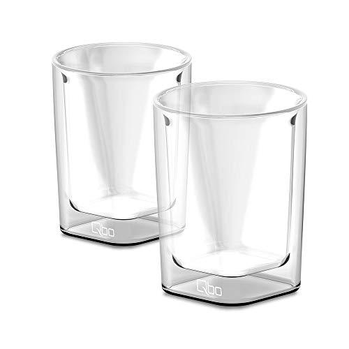 Qbo Caffè Glas - 2er Set (doppelwandig, mundgeblasen, 230 ml Füllmenge)
