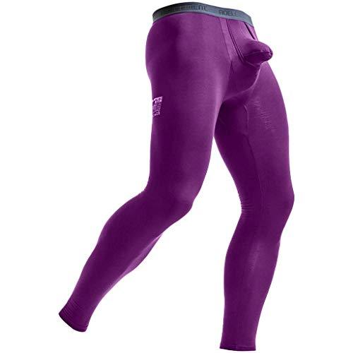 Herren Stretch Leggings Sport Gym Hose Bekleidung Running Festlich Yoga Sporthose Slim Fit Sweatpants Bulge Pouch Unterhosen Long Pants (Color : Violett, One Size : L)