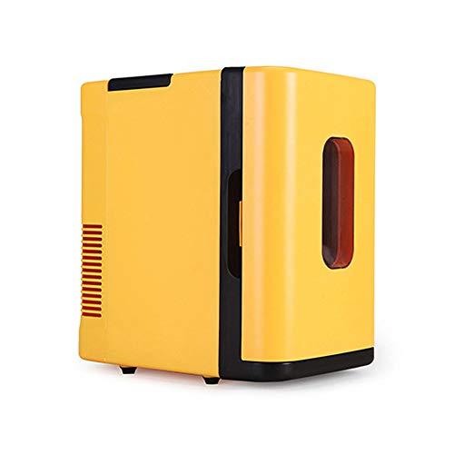 Car refrigerator Minikühlschrank, 10-Liter-Autokühlschrank mit großer Kapazität, Auto- und Haushaltskühlschrank, Gefrier- / Heizgerät, Kleiner Haushaltskühlschrank, gelb