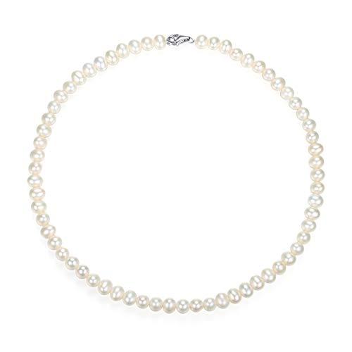 VIKI LYNN Damen-Halskette mit Süßwasser-Zuchtperlen, 6-7 mm, AAA, 40 cm