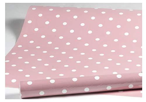 i.stHOME Klebefolie Dots Vintage rosa, Möbelfolie Punkte Dekorfolie gepunktet 45x200 cm - Selbstklebende Folie Retro - Bastelfolie