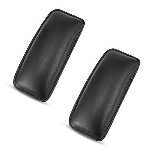 Cdemiy Leder Auto Center Console Kniekissen Soft Pad, 2 Stück Autotürarmlehne, Auto-Innenraum Pu-Leder-Knieschoner, für Die Fußpflege und Oberschenkelstütze Des Autos (Schwarz)