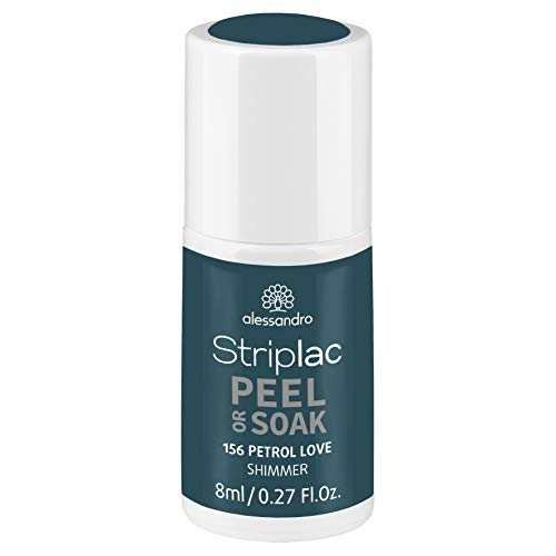alessandro Striplac Peel or Soak Petrol Love - LED-Nagellack in Petrolblau mit Shimmer - Für perfekte Nägel in 15 Minuten, 8 ml