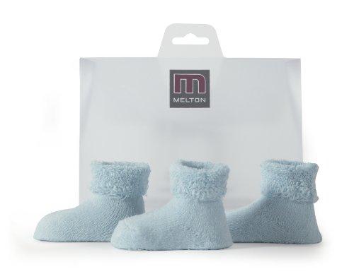 Melton Unisex-Baby Babysocken Terry 3er Pack Socken, Blau (Baby Blue 205), (Herstellergröße: one Size)