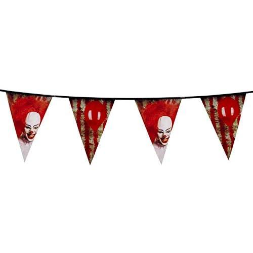 Boland BOL72350 Ghirlanda Plastificata Clown Terrificante, 30 cm x 6 mt